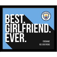 Personalised Manchester City FC Best Girlfriend Ever 10x8 Photo Framed