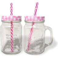 Personalised Pink Mason Jar With Straw