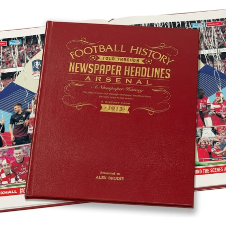 Personalised Arsenal Football Newspaper Book - Leather Cover