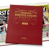 Personalised Burnley Football Newspaper Book - Leather Cover