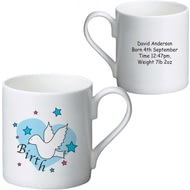 Personalised Dove & Hearts Blue Birth Ceramic Mug
