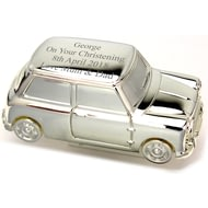 Personalised Engraved Silver Mini Car Money Box