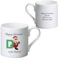 Personalised Initial Santa Ceramic Mug