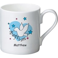Personalised Dove & Hearts Blue Baptism Ceramic Mug