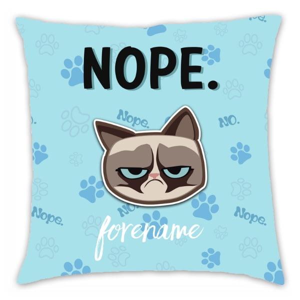 Personalised Grumpy Cat Emoji - Nope Cushion Blue - 45x45cm