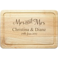 Personalised Mrs & Mrs Rectangle Wooden Chopping Board