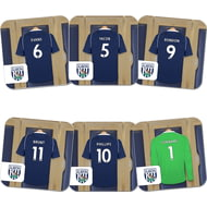 Personalised West Bromwich Albion FC Goalkeeper Dressing Room Shirts Coasters Set of 6