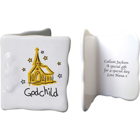 Personalised Church Godchild Ceramic Message Card