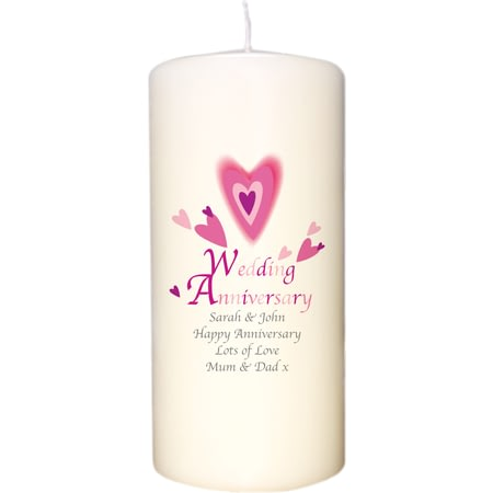 Personalised Red Hearts Anniversary Candle