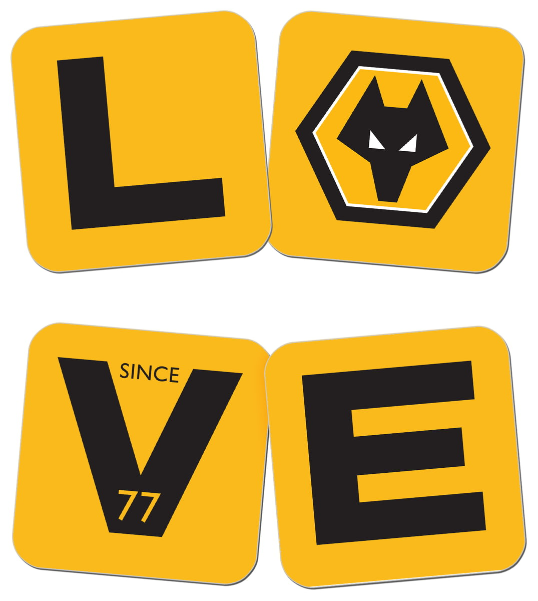 Personalised Wolves FC Love Coasters (x4) from Go Find A Gift
