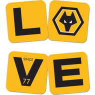 Personalised Wolves FC Love Coasters (x4)
