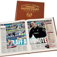 Personalised Rangers Football Newspaper Book - Leatherette Cover