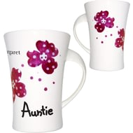 Personalised Pink Pansies Auntie Twist Handle Ceramic Mug