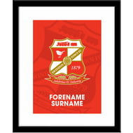 Personalised Swindon Town FC Bold Crest Framed Print