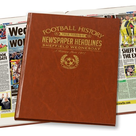 Personalised Sheffield Wednesday Football Newspaper Book - Leatherette Cover