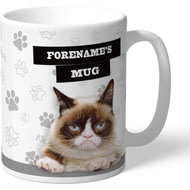 Personalised Grumpy Cat - Grumpy Is My Job Grey Mug
