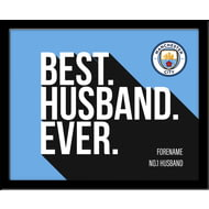 Personalised Manchester City FC Best Husband Ever 10x8 Photo Framed
