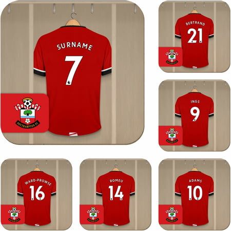 Personalised Southampton FC Dressing Room Shirts Coasters Set of 6