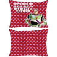 "Personalised Toy Story Buzz Valentines ""Infinity & Beyond"" Rectangle Cushion - 45x30cm"