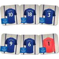 Personalised Everton FC Goalkeeper Dressing Room Shirts Coasters Set of 6