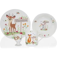 Personalised Woodland Animals Scene Ceramic 4 Piece Breakfast Set