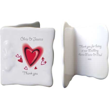 Personalised Red Hearts Ceramic Message Card