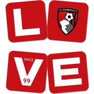 Personalised AFC Bournemouth Love Coasters (x4)