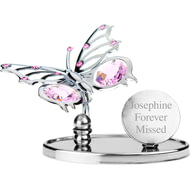 Personalised Engraved Crystocraft Butterfly Ornament with Pink Crystals