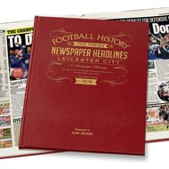 Personalised Leicester City Football History Newspaper Book - Leather Cover