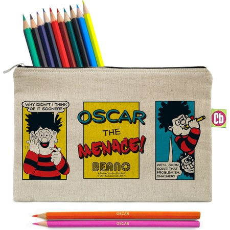Personalised Beano Classic Comic Strip Problem Solved Canvas Pencil Case & Pencils