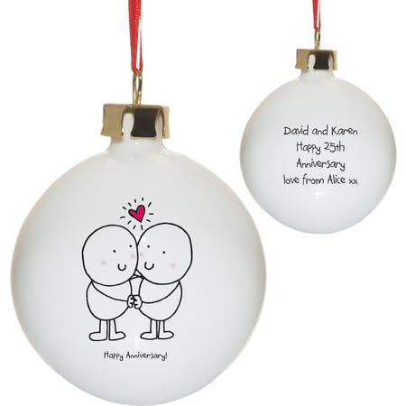 Personalised Chilli & Bubble's Anniversary Christmas Tree Bauble