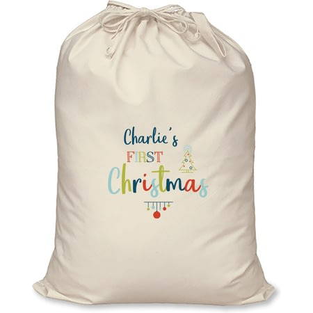 Personalised My First Christmas Cotton Christmas Santa Sack