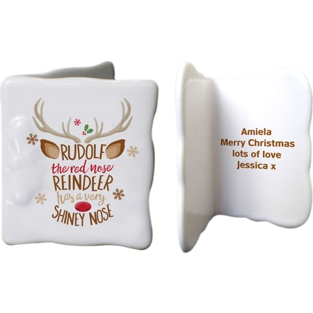 Personalised Rudolph The Red-Nosed Reindeer Ceramic Message Card