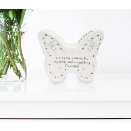 Personalised White Butterfly Moneybox