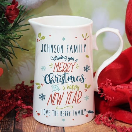 Personalised Wishing You A Merry Christmas Farmhouse Jug
