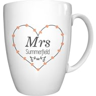 Personalised Mrs Heart Conical Ceramic Mug