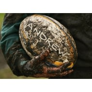 Personalised Muddy Rugby Ball Poster