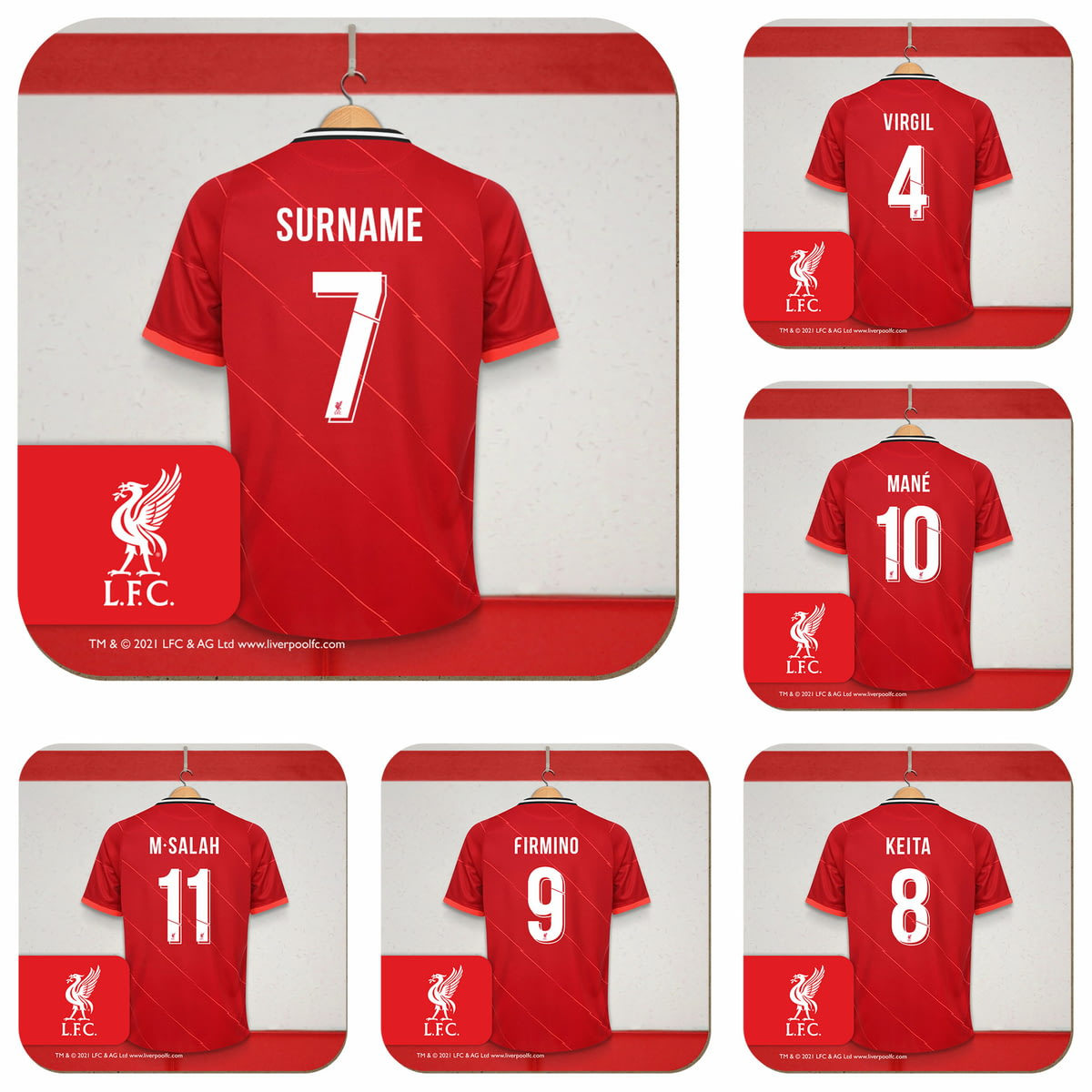 602c4bac1c6a2 Personalised Liverpool FC Dressing Room Shirts Coasters Set of 6