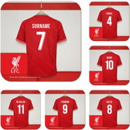 Personalised Liverpool FC Dressing Room Shirts Coasters Set of 6