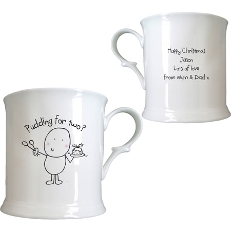 Personalised Chilli & Bubble's Christmas Pudding Half Pint Tankard
