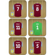 Personalised Aston Villa FC Legends Dressing Room Shirts Coasters Set of 6