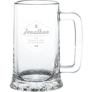 Personalised Hipster Style Coolest Dad Glass Stern Tankard Pint Glass
