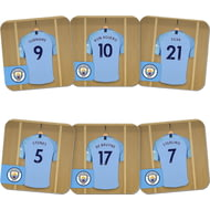 Personalised Manchester City FC Dressing Room Shirts Coasters Set of 6