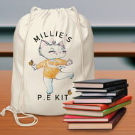 Personalised Nina Kitten Gymnast Drawstring Bag