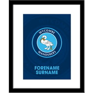 Personalised Wycombe Wanderers Bold Crest Framed Print
