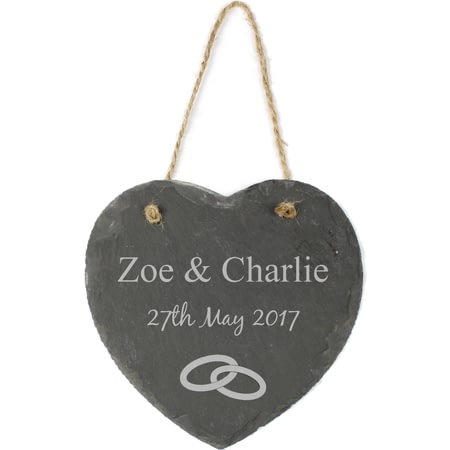 Personalised Engraved Hanging Slate Heart Wedding Rings Motif