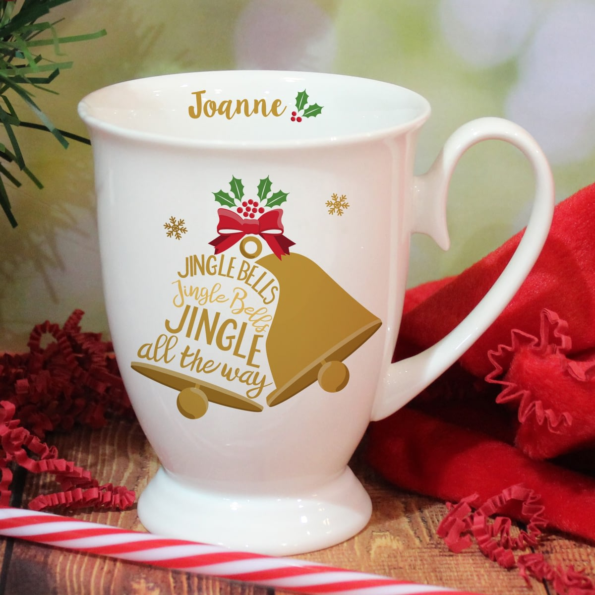 Buy your personalised jingle bells marquee ceramic mug