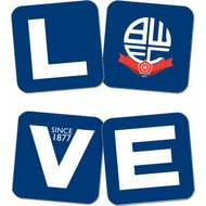 Personalised Bolton Wanderers Love Coasters (x4)