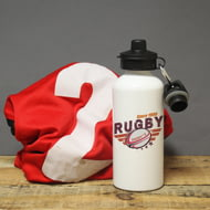 Personalised Maroon Rugby White Sports Bottle