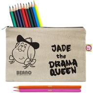 Personalised Beano Big Heads Minnie Pencil Case & Pencils
